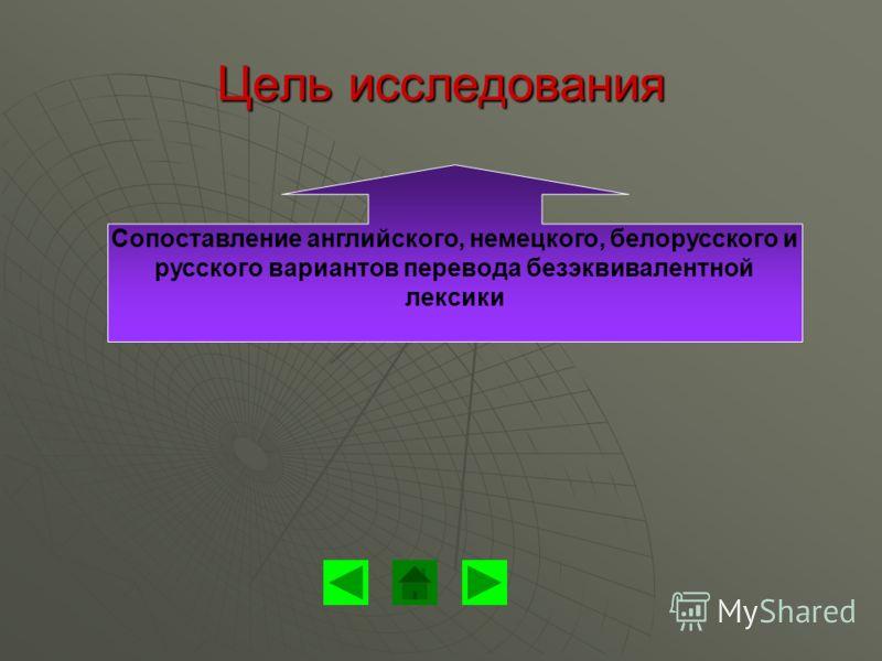 Цель исследования Сопоставление английского, немецкого, белорусского и русского вариантов перевода безэквивалентной лексики