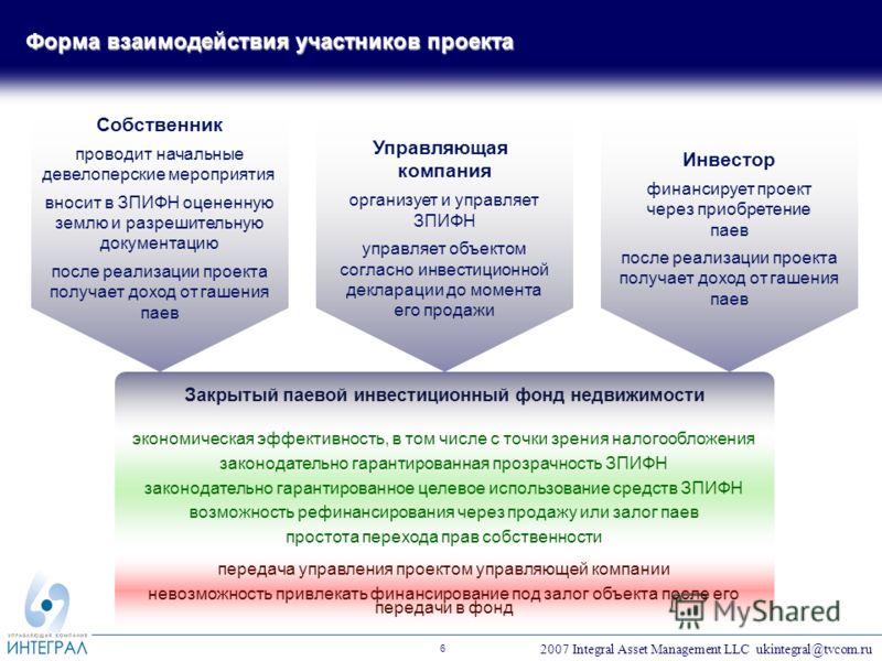 2007 Integral Asset Management LLC ukintegral@tvcom.ru 6 Закрытый паевой инвестиционный фонд недвижимости экономическая эффективность, в том числе с точки зрения налогообложения законодательно гарантированная прозрачность ЗПИФН законодательно гаранти