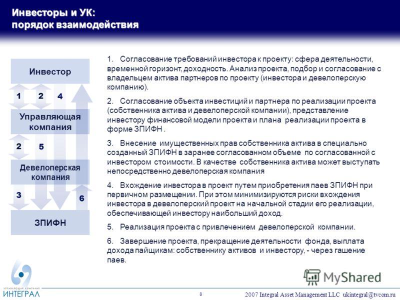 2007 Integral Asset Management LLC ukintegral@tvcom.ru 8 1.Согласование требований инвестора к проекту: сфера деятельности, временной горизонт, доходность. Анализ проекта, подбор и согласование с владельцем актива партнеров по проекту (инвестора и де