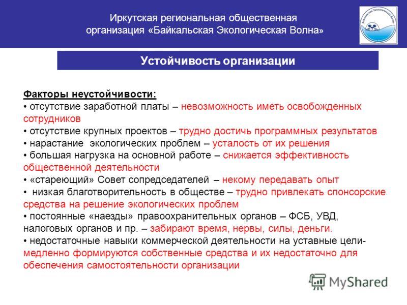 Иркутская региональная общественная организация «Байкальская Экологическая Волна » Устойчивость организации Факторы неустойчивости: отсутствие заработной платы – невозможность иметь освобожденных сотрудников отсутствие крупных проектов – трудно дости