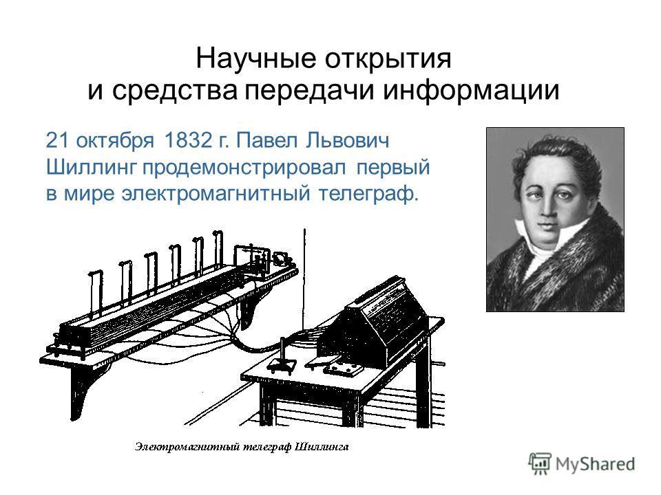 Научные открытия и средства передачи информации 21 октября 1832 г. Павел Львович Шиллинг продемонстрировал первый в мире электромагнитный телеграф.