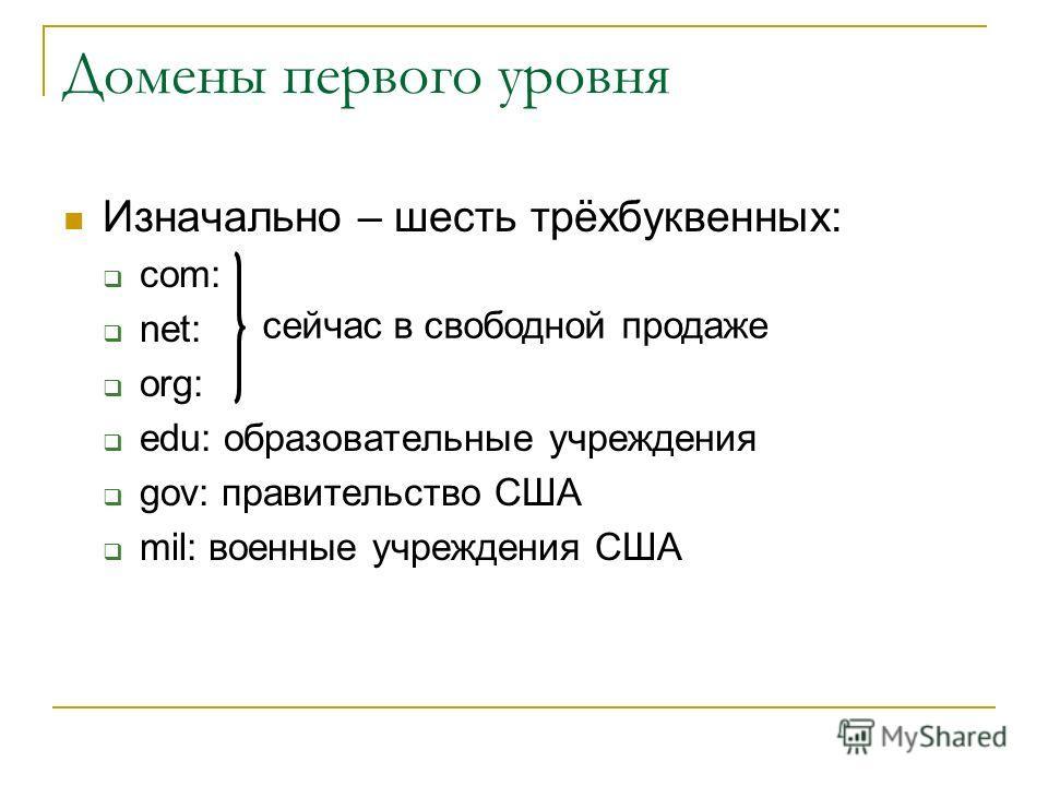 Изначально – шесть трёхбуквенных: com: net: org: edu: образовательные учреждения gov: правительство США mil: военные учреждения США Домены первого уровня сейчас в свободной продаже