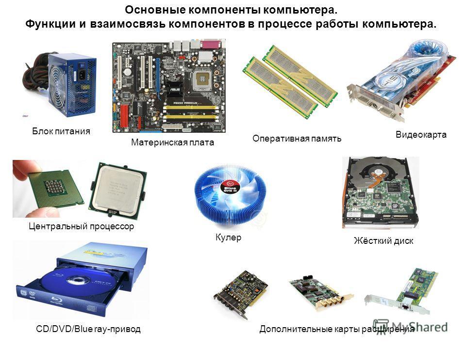 Основные компоненты компьютера. Функции и взаимосвязь компонентов в процессе работы компьютера. Блок питания Материнская плата Жёсткий диск Оперативная память Центральный процессор Видеокарта CD/DVD/Blue ray-привод Кулер Дополнительные карты расширен