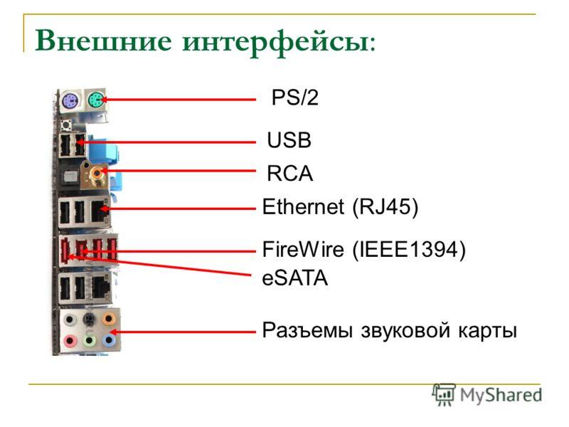Внешние интерфейсы: PS/2 USB Ethernet (RJ45) FireWire (IEEE1394) eSATA Разъемы звуковой карты RCA