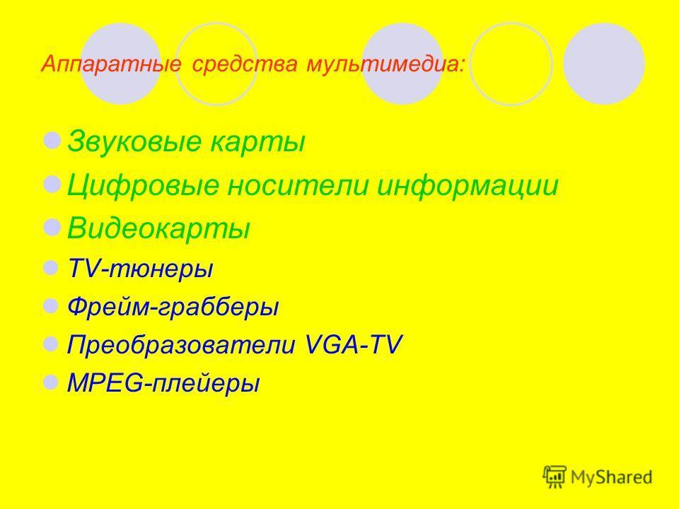 Аппаратные средства мультимедиа: Звуковые карты Цифровые носители информации Видеокарты TV-тюнеры Фрейм-грабберы Преобразователи VGA-TV MPEG-плейеры
