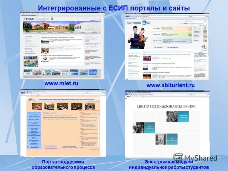 Интегрированные с ЕСИП порталы и сайты www.abiturient.ru Электронные модули индивидуальной работы студентов www.miet.ru Портал поддержки образовательного процесса