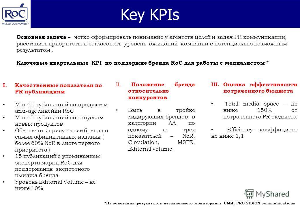 Key KPIs Основная задача – четко сформировать понимание у агентств целей и задач PR коммуникации, расставить приоритеты и согласовать уровень ожиданий компании с потенциально возможным результатом. Ключевые квартальные KPI по поддержке бренда RoC для