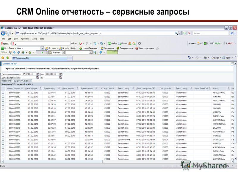 CRM Online отчетность – новые подключения