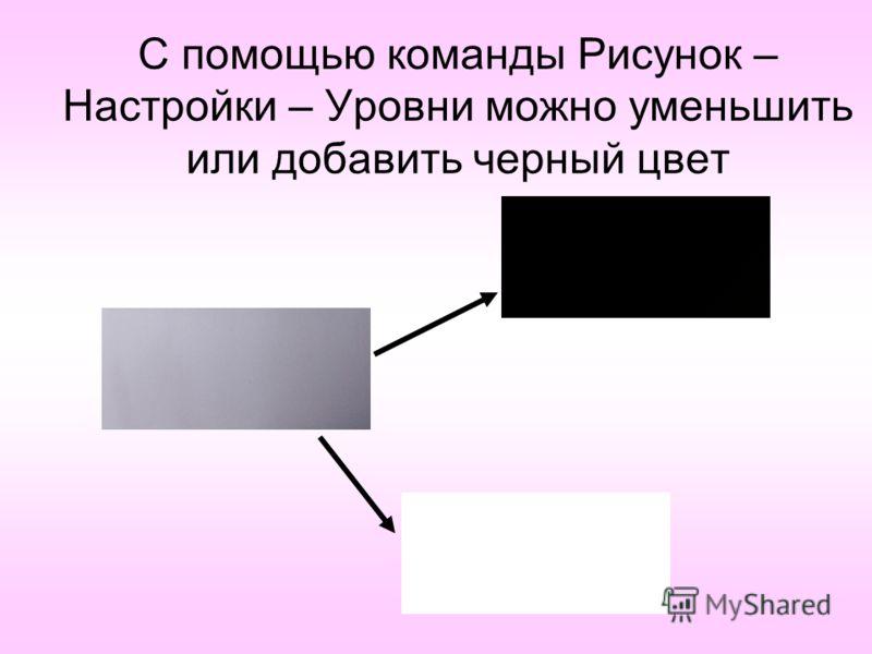 С помощью команды Рисунок – Настройки – Уровни можно уменьшить или добавить черный цвет