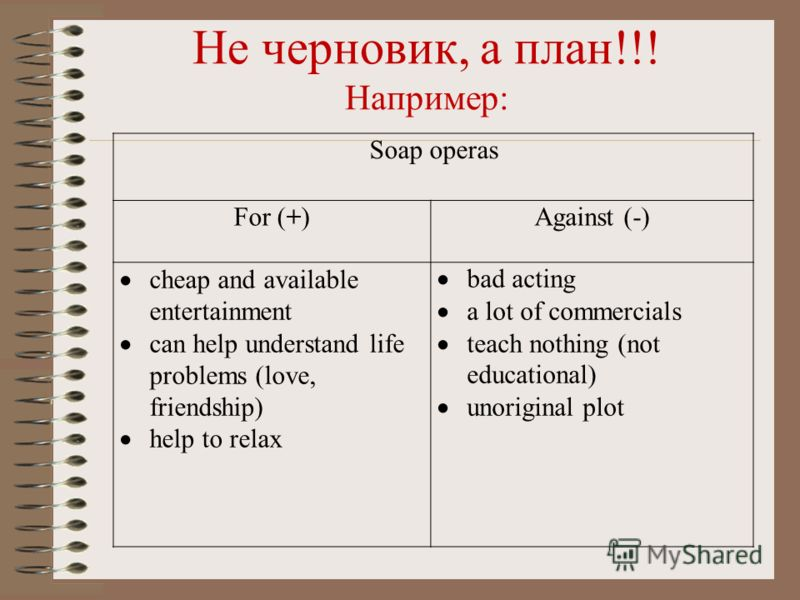Не черновик, а план!!! Например: Soap operas For (+)Against (-) cheap and available entertainment can help understand life problems (love, friendship) help to relax bad acting a lot of commercials teach nothing (not educational) unoriginal plot