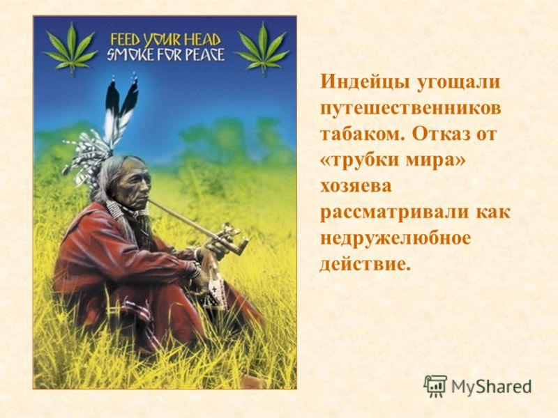Индейцы угощали путешественников табаком. Отказ от «трубки мира» хозяева рассматривали как недружелюбное действие.