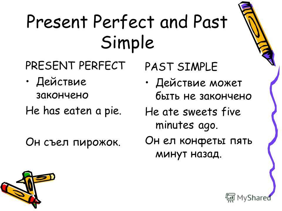 Present Perfect and Past Simple PRESENT PERFECT Действие закончено He has eaten a pie. Он съел пирожок. PAST SIMPLE Действие может быть не закончено He ate sweets five minutes ago. Он ел конфеты пять минут назад.