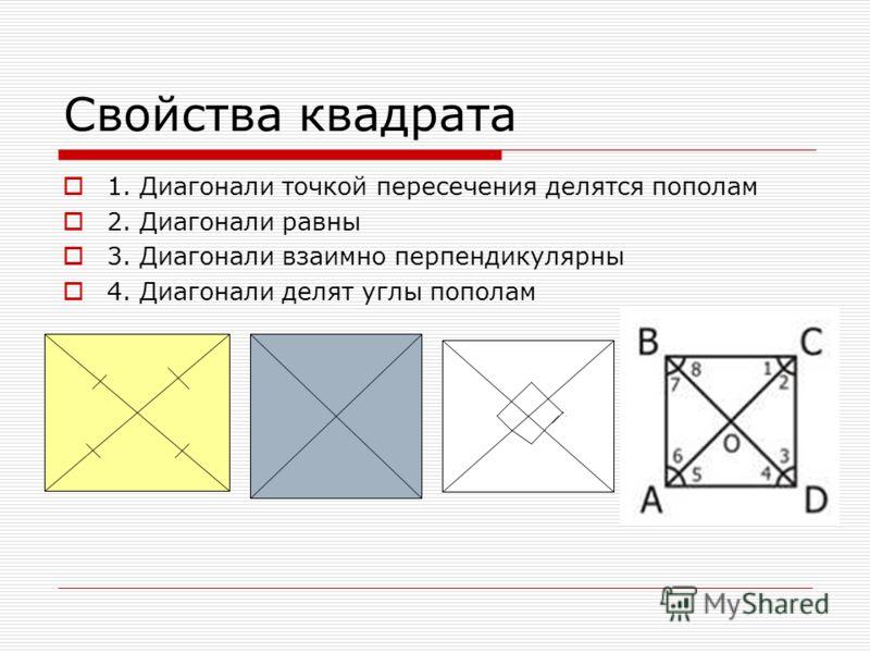 Свойства квадрата 1. Диагонали точкой пересечения делятся пополам 2. Диагонали равны 3. Диагонали взаимно перпендикулярны 4. Диагонали делят углы пополам