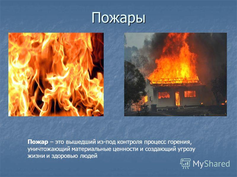 Пожары Пожар – это вышедший из-под контроля процесс горения, уничтожающий материальные ценности и создающий угрозу жизни и здоровью людей