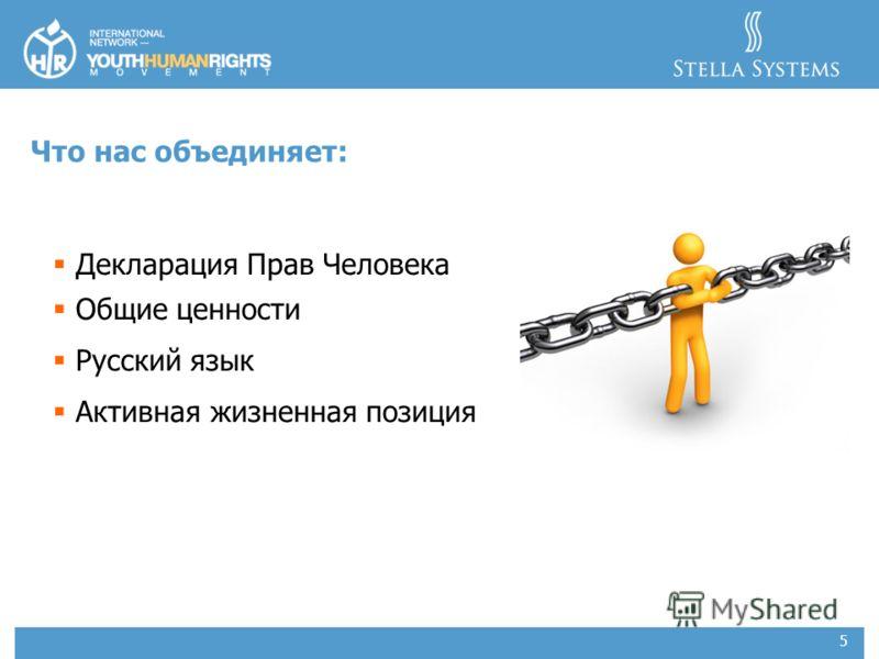 5 Что нас объединяет: Декларация Прав Человека Общие ценности Русский язык Активная жизненная позиция