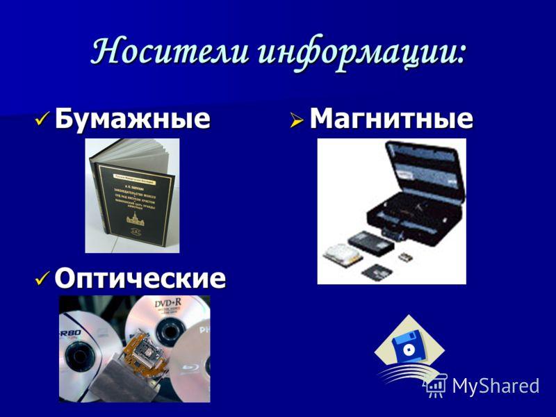 Носители информации: Бумажные Бумажные Оптические Оптические Магнитные Магнитные