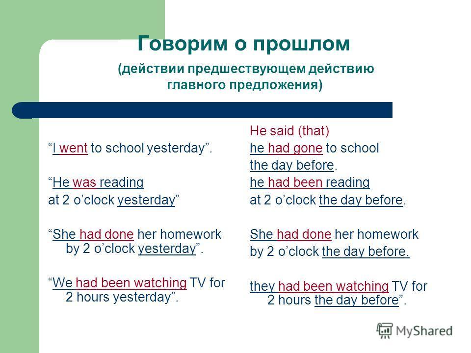 Говорим о прошлом (действии предшествующем действию главного предложения) I went to school yesterday. He was reading at 2 oclock yesterday She had done her homework by 2 oclock yesterday. We had been watching TV for 2 hours yesterday. He said (that)