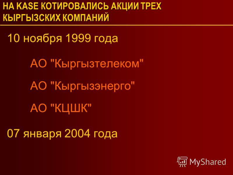 НА KASE КОТИРОВАЛИСЬ АКЦИИ ТРЕХ КЫРГЫЗСКИХ КОМПАНИЙ 10 ноября 1999 года АО Кыргызтелеком АО Кыргызэнерго АО КЦШК 07 января 2004 года