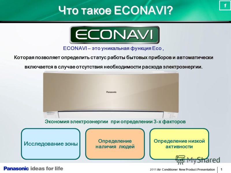 2011 Air Conditioner New Product Presentation 1 1 Что такое ECONAVI? ECONAVI – это уникальная функция Eco, Которая позволяет определить статус работы бытовых приборов и автоматически включается в случае отсутствия необходимости расхода электроэнергии