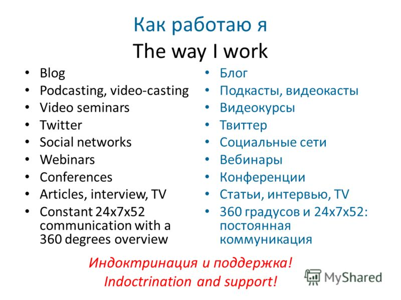 Как работаю я The way I work Blog Podcasting, video-casting Video seminars Twitter Social networks Webinars Conferences Articles, interview, TV Constant 24x7x52 communication with a 360 degrees overview Блог Подкасты, видеокасты Видеокурсы Твиттер Со