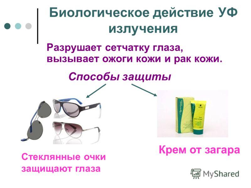 Биологическое действие УФ излучения Разрушает сетчатку глаза, вызывает ожоги кожи и рак кожи. Способы защиты Крем от загара Стеклянные очки защищают глаза