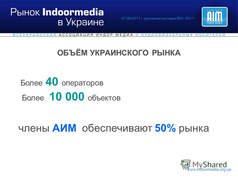 www.indoormedia.org.ua ОБЪЁМ УКРАИНСКОГО РЫНКА Более 40 операторов Более 10 000 объектов члены АИМ обеспечивают 50% рынка