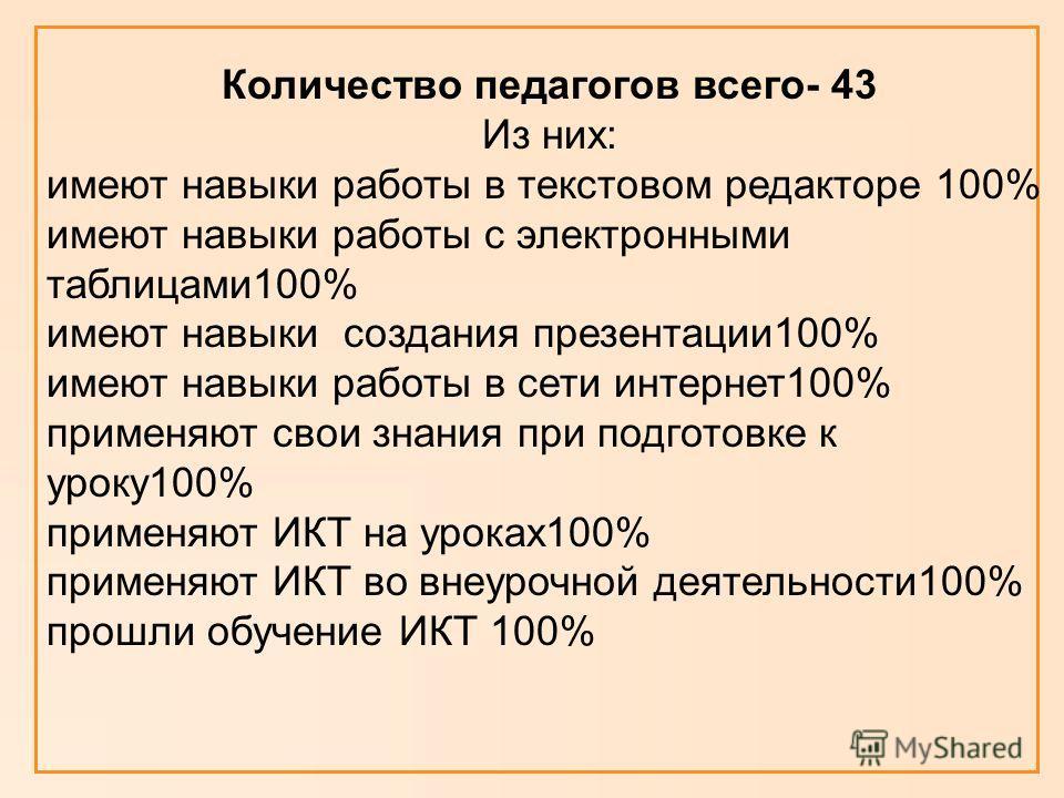 Количество педагогов всего- 43 Из них: имеют навыки работы в текстовом редакторе 100% имеют навыки работы с электронными таблицами100% имеют навыки создания презентации100% имеют навыки работы в сети интернет100% применяют свои знания при подготовке