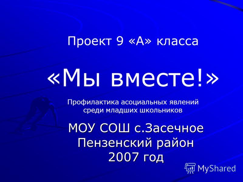 Проект 9 «А» класса «Мы вместе!» МОУ СОШ с.Засечное Пензенский район 2007 год Профилактика асоциальных явлений среди младших школьников