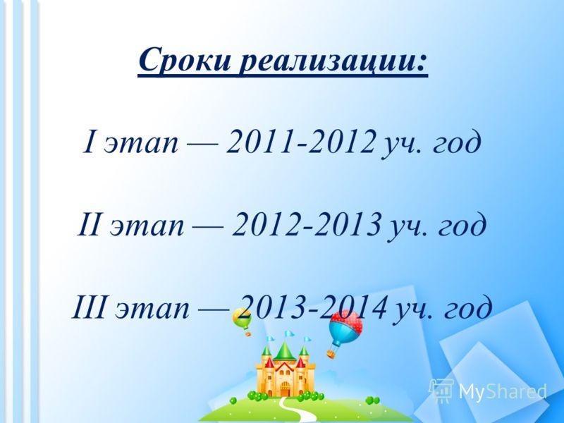 Сроки реализации: I этап 2011-2012 уч. год II этап 2012-2013 уч. год III этап 2013-2014 уч. год