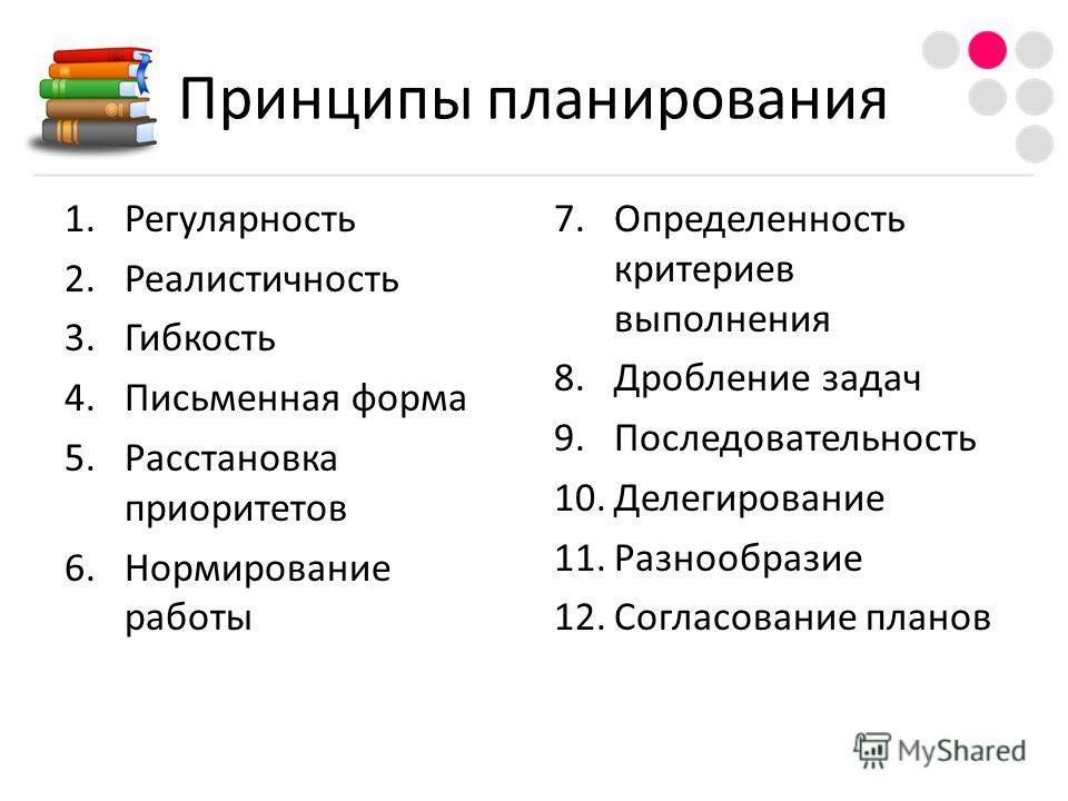 Принципы планирования 1.Регулярность 2.Реалистичность 3.Гибкость 4.Письменная форма 5.Расстановка приоритетов 6.Нормирование работы 7.Определенность критериев выполнения 8.Дробление задач 9.Последовательность 10.Делегирование 11.Разнообразие 12.Согла