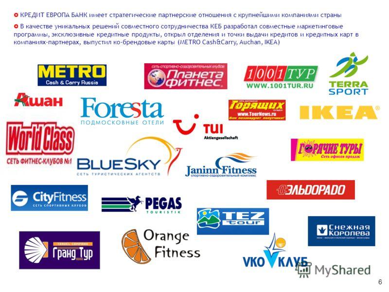 6 Крупнейшие партнеры КЕБ по розничному бизнесу КРЕДИТ ЕВРОПА БАНК имеет стратегические партнерские отношения с крупнейшими компаниями страны В качестве уникальных решений совместного сотрудничества КЕБ разработал совместные маркетинговые программы,