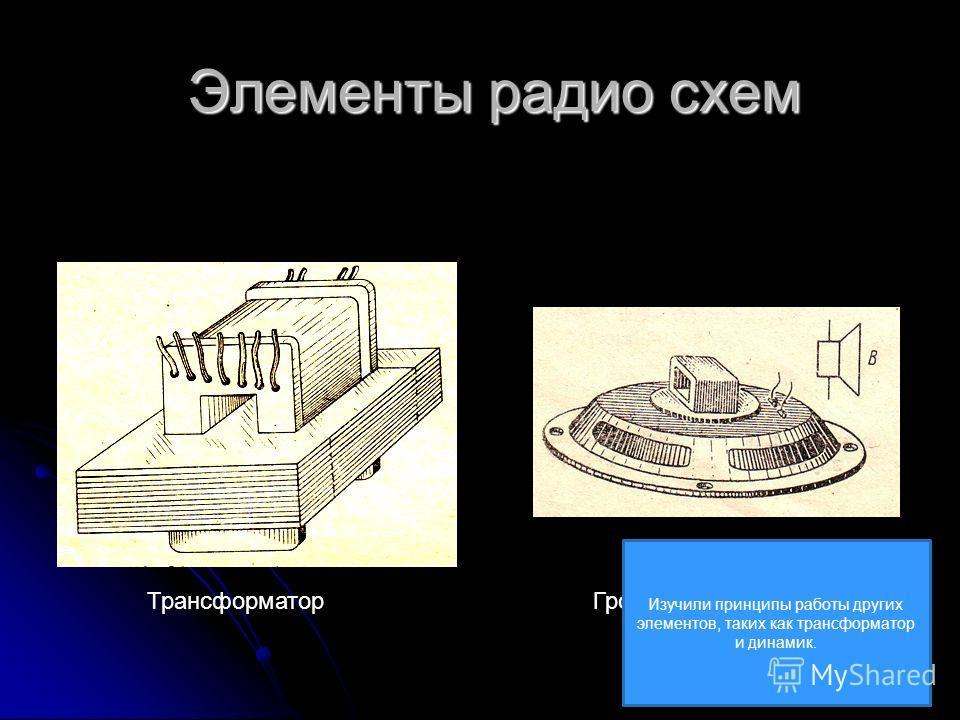 Элементы радио схем ТрансформаторГромкоговоритель Изучили принципы работы других элементов, таких как трансформатор и динамик.