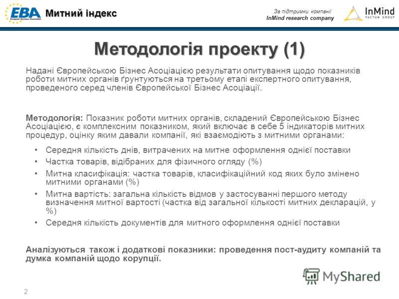 Митний індекс За підтримки компанії InMind research company 2 Методологія проекту (1) Надані Європейською Бізнес Асоціацією результати опитування щодо показників роботи митних органів ґрунтуються на третьому етапі експертного опитування, проведеного
