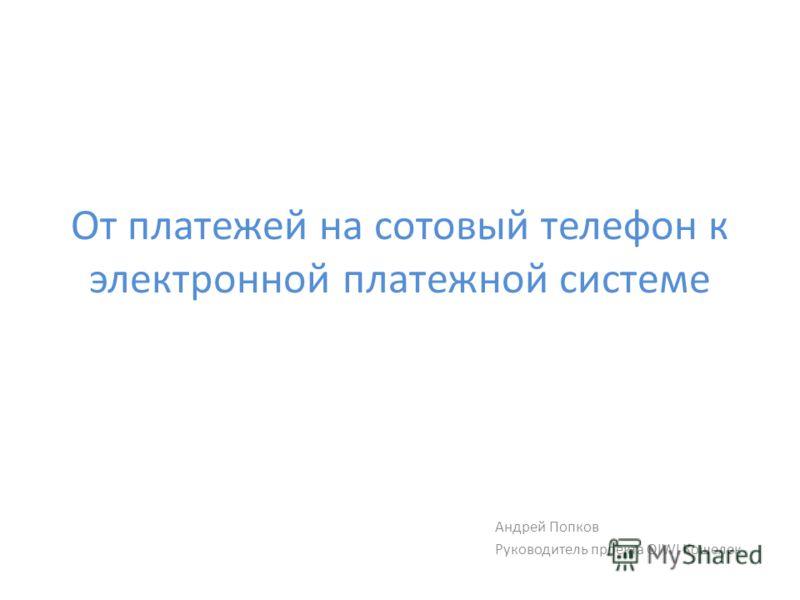 От платежей на сотовый телефон к электронной платежной системе Андрей Попков Руководитель проекта QIWI Кошелек