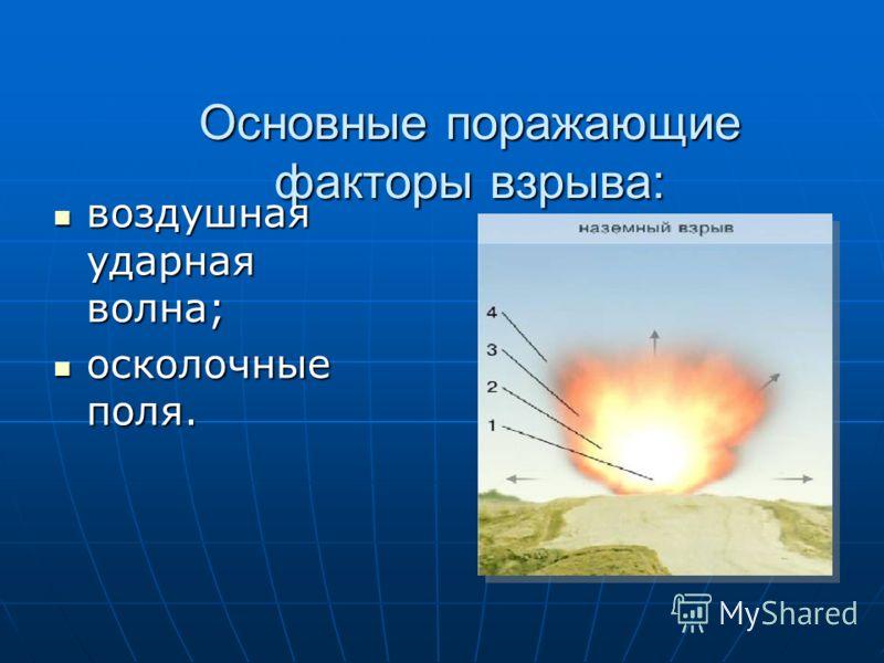 Основные поражающие факторы взрыва: воздушная ударная волна; воздушная ударная волна; осколочные поля. осколочные поля.