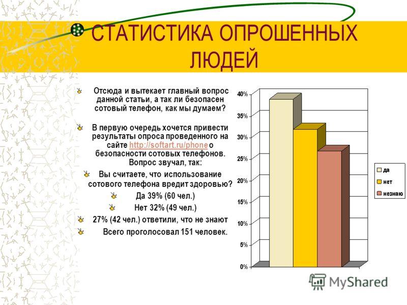 СТАТИСТИКА ОПРОШЕННЫХ ЛЮДЕЙ Отсюда и вытекает главный вопрос данной статьи, а так ли безопасен сотовый телефон, как мы думаем? В первую очередь хочется привести результаты опроса проведенного на сайте http://softart.ru/phone о безопасности сотовых те