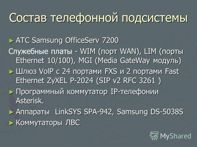 Состав телефонной подсистемы АТС Samsung OfficeServ 7200 АТС Samsung OfficeServ 7200 - WIM (порт WAN), LIM (порты Ethernet 10/100), MGI (Media GateWay модуль) Служебные платы - WIM (порт WAN), LIM (порты Ethernet 10/100), MGI (Media GateWay модуль) Ш