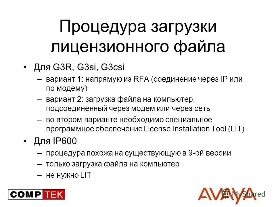Процедура загрузки лицензионного файла Для G3R, G3si, G3csi –вариант 1: напрямую из RFA (соединение через IP или по модему) –вариант 2: загрузка файла на компьютер, подсоединённый через модем или через сеть –во втором варианте необходимо специальное