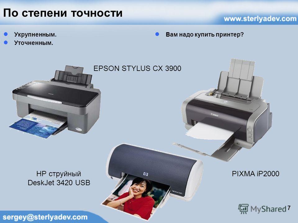По степени точности Укрупненным. Уточненным. Вам надо купить принтер? 7 2 500,00 1 700,00 3 100,00 EPSON STYLUS CX 3900 PIXMA iP2000HP струйный DeskJet 3420 USB