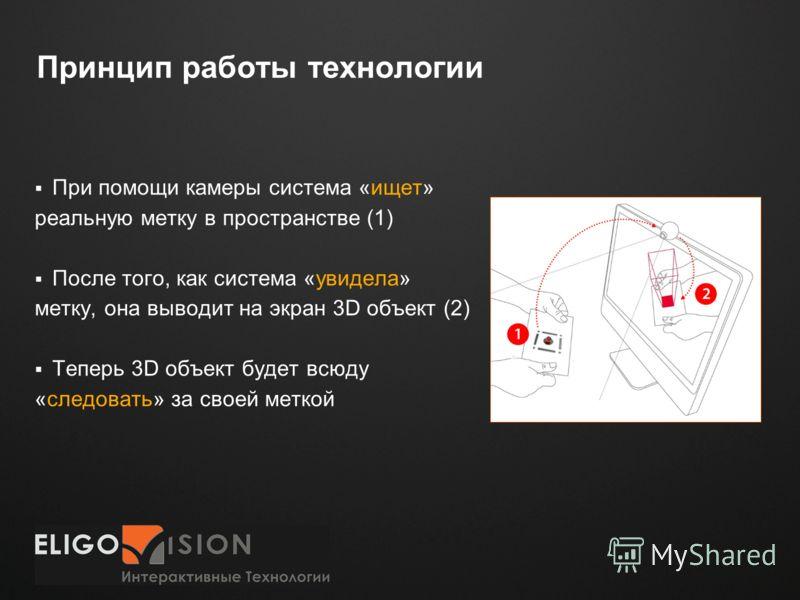 Место для логотипа Принцип работы технологии При помощи камеры система «ищет» реальную метку в пространстве (1) После того, как система «увидела» метку, она выводит на экран 3D объект (2) Теперь 3D объект будет всюду «следовать» за своей меткой
