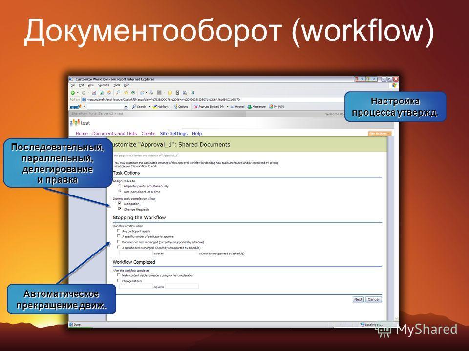 Документооборот (workflow) Настройка процесса утвержд. Последовательный, параллельный, делегирование и правка Автоматическое прекращение движ.