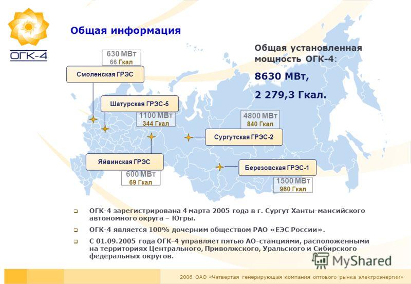 2006 ОАО «Четвертая генерирующая компания оптового рынка электроэнергии» Общая информация ОГК-4 зарегистрирована 4 марта 2005 года в г. Сургут Ханты-мансийского автономного округа – Югры. ОГК-4 является 100% дочерним обществом РАО «ЕЭС России». С 01.