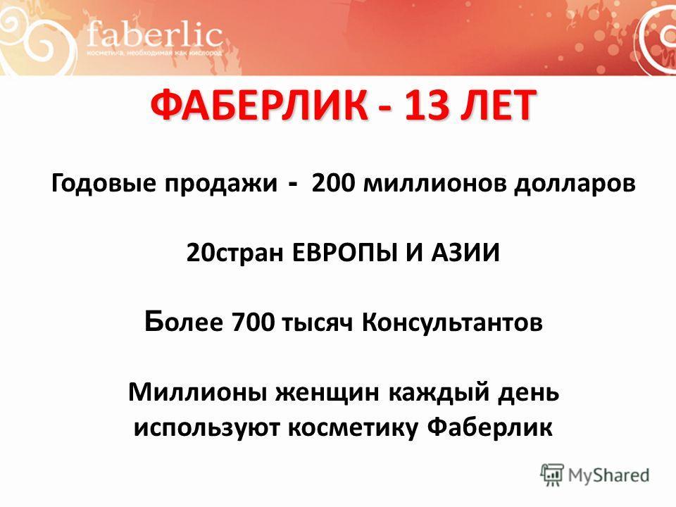 ФАБЕРЛИК - 13 ЛЕТ Годовые продажи - 200 миллионов долларов 20стран ЕВРОПЫ И АЗИИ Б олее 700 тысяч Консультантов Миллионы женщин каждый день используют косметику Фаберлик