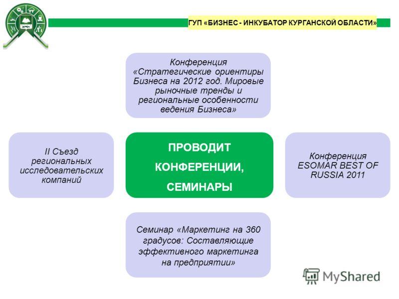 Конференция ESOMAR BEST OF RUSSIA 2011 Семинар «Маркетинг на 360 градусов: Составляющие эффективного маркетинга на предприятии» ПРОВОДИТ КОНФЕРЕНЦИИ, СЕМИНАРЫ Конференция «Стратегические ориентиры Бизнеса на 2012 год. Мировые рыночные тренды и регион