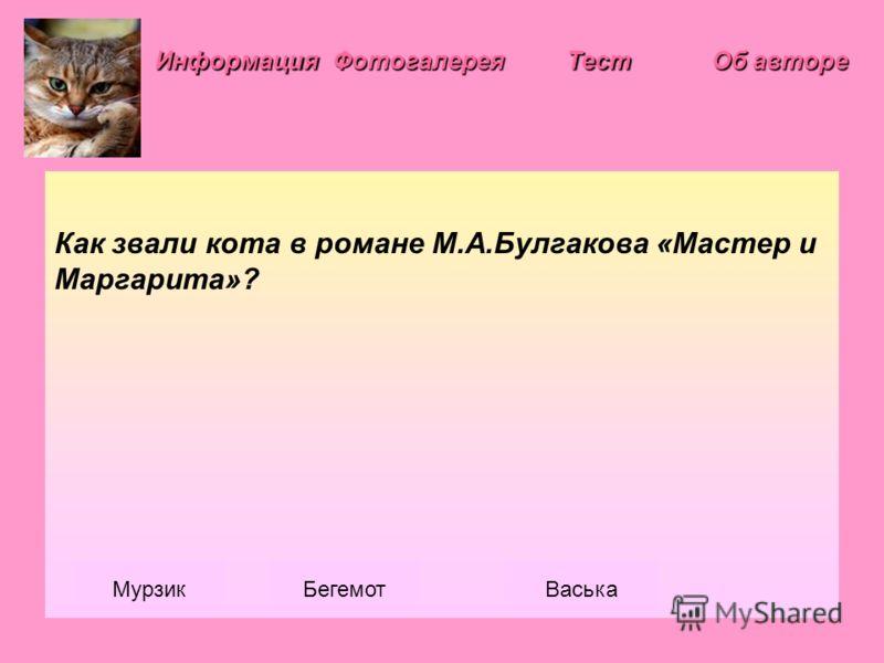 Информация Фотогалерея Как звали кота в романе М.А.Булгакова «Мастер и Маргарита»? МурзикБегемотВаська Тест Об авторе Об авторе
