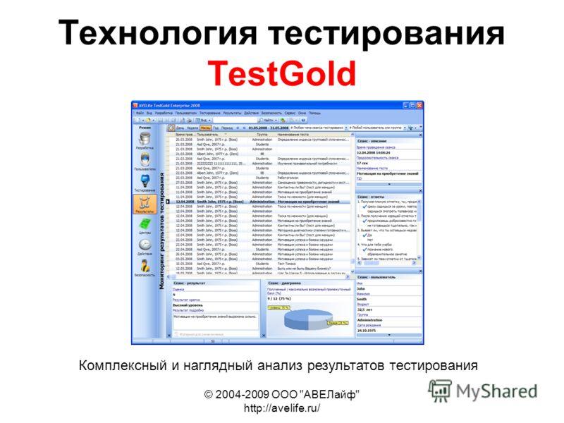 © 2004-2009 ООО АВЕЛайф http://avelife.ru/ Технология тестирования TestGold Комплексный и наглядный анализ результатов тестирования