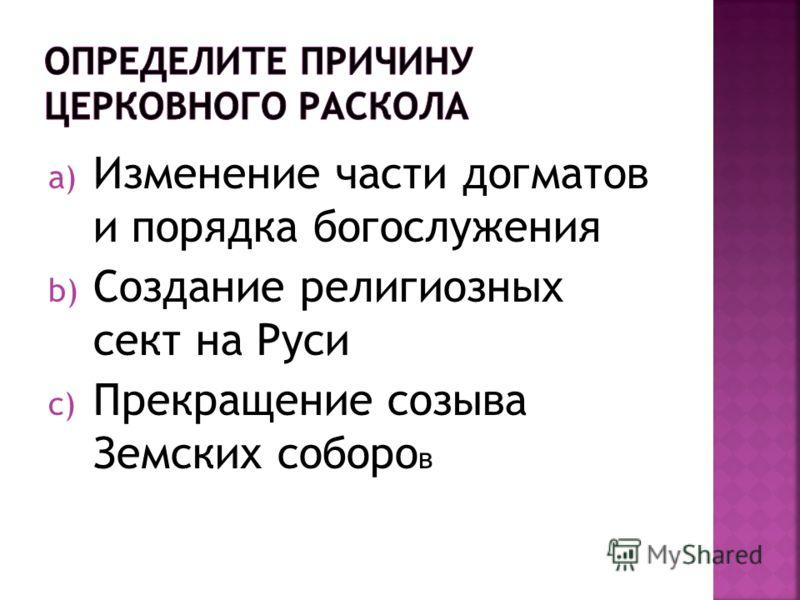 a) Изменение части догматов и порядка богослужения b) Создание религиозных сект на Руси c) Прекращение созыва Земских соборо в