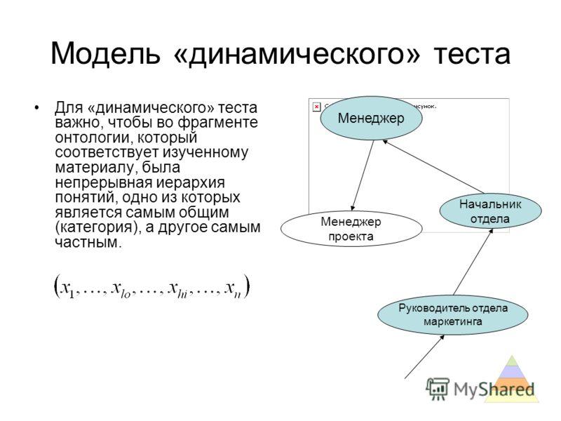 Модель «динамического» теста Для «динамического» теста важно, чтобы во фрагменте онтологии, который соответствует изученному материалу, была непрерывная иерархия понятий, одно из которых является самым общим (категория), а другое самым частным. Менед