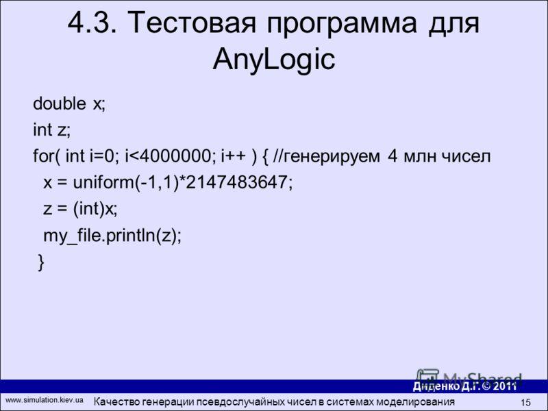 Диденко Д.Г. © 2011 www.simulation.kiev.ua Качество генерации псевдослучайных чисел в системах моделирования 15 www.simulation.kiev.ua 15 double x; int z; for( int i=0; i
