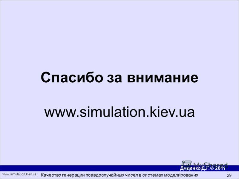 Диденко Д.Г. © 2011 www.simulation.kiev.ua Качество генерации псевдослучайных чисел в системах моделирования 29 Спасибо за внимание www.simulation.kiev.ua